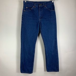 """Vtg Lee Mom Jeans Made USA Leather Patch 29"""" Waist"""